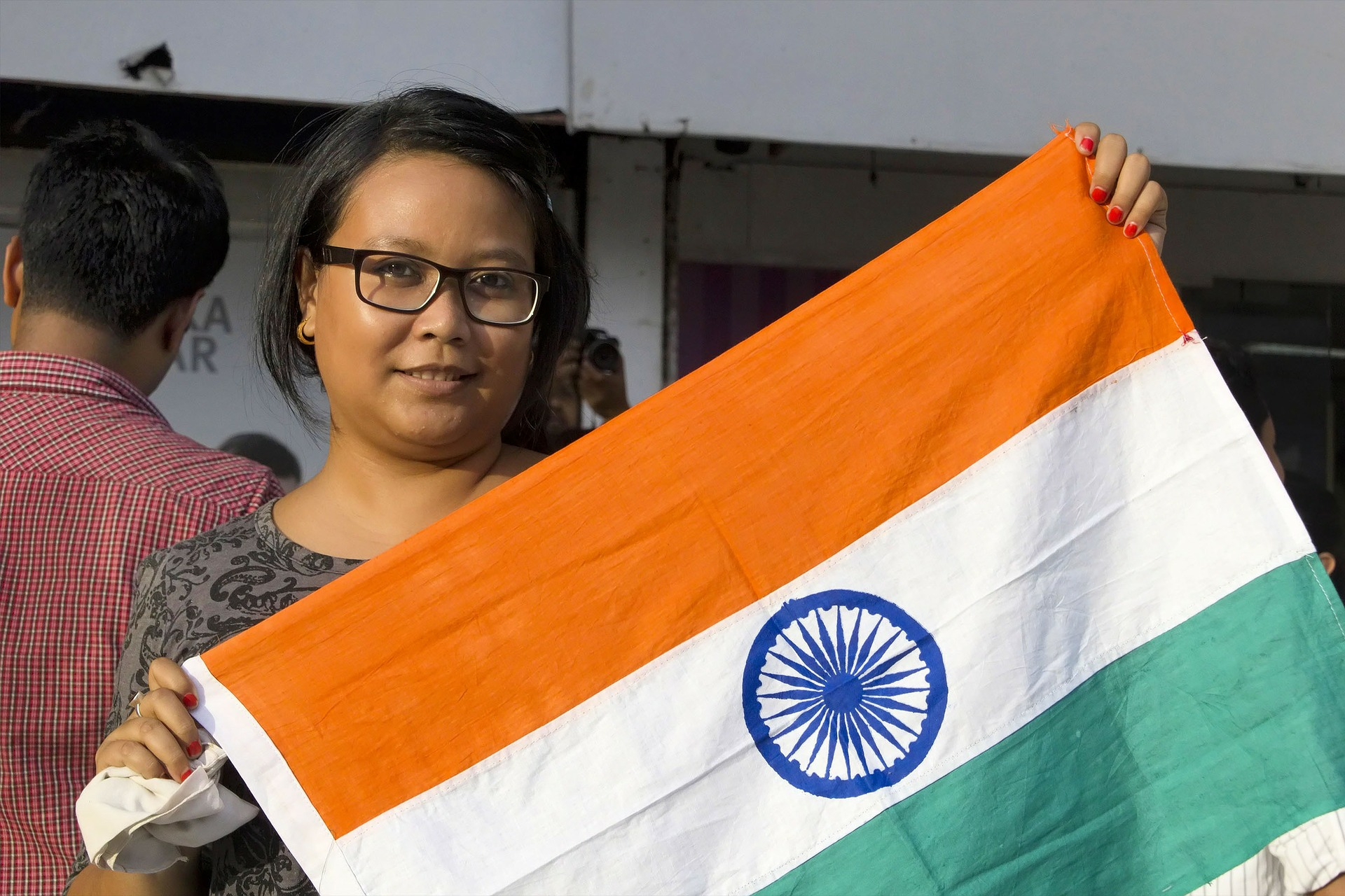India Lady with flag