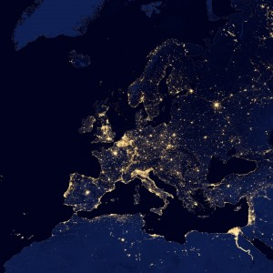 Europe Map Lights